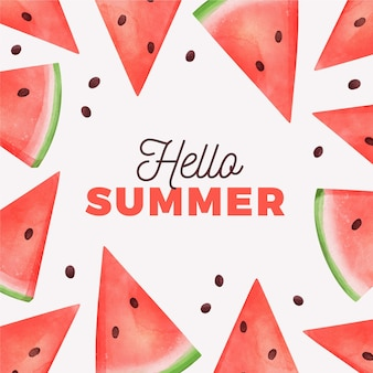 Watercolor hello summer with watermelon