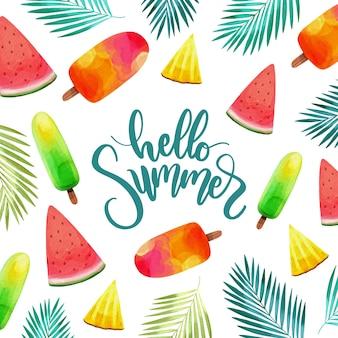 Watercolor hello summer