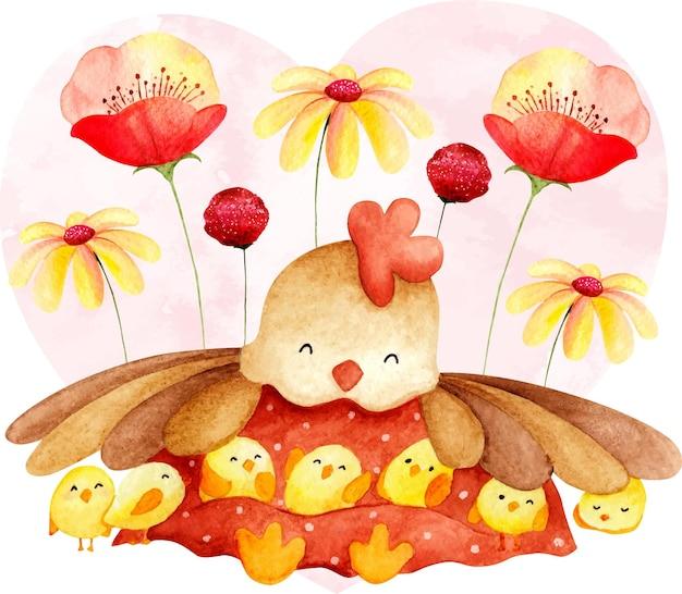 花と水彩の鶏とひよこ