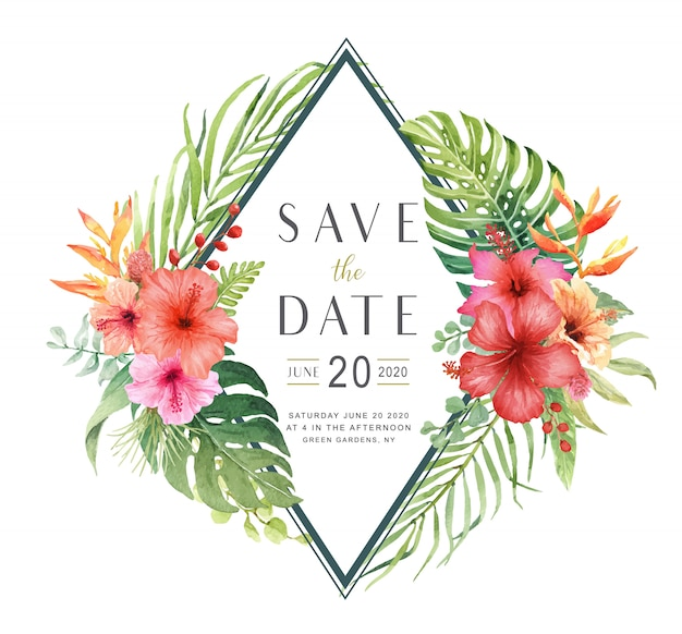 Watercolor hibiscus flower bouquet save the date card