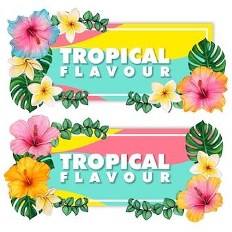 Акварельные цветы гибискуса и тропические листья и франжипани