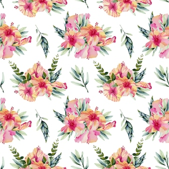 Watercolor hibiscus flowers bouquets seamless pattern