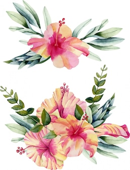 Watercolor hibiscus flowers and leaves bouquets