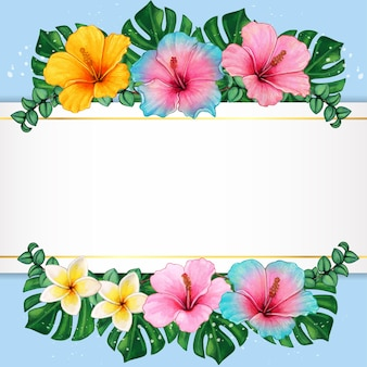 Watercolor hibiscus flowers and tropical leaves elegant frame
