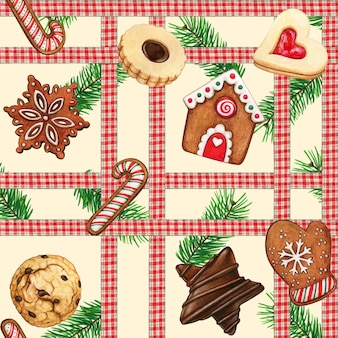 Watercolor high quality gingerbread cookies and checkered ribbon pattern