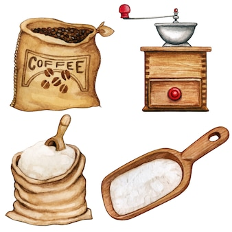 Watercolor high quality ingredients and tools coffee and flour