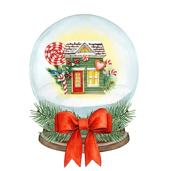 Watercolor high quality snowball with colorful house and candies