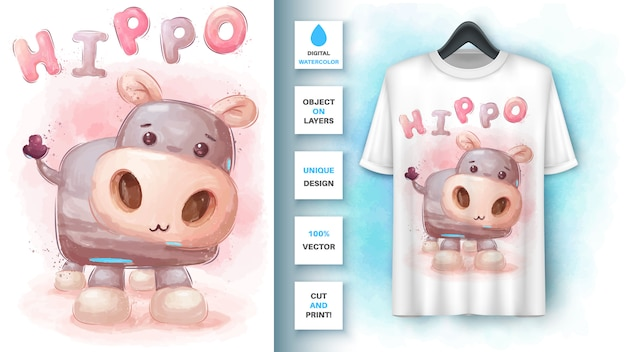 Watercolor hippo - poster and merchandising