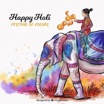 Watercolor holi background with woman on elephant