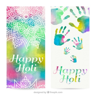 Watercolor holi banners with ornaments and hand prints