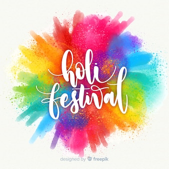 Watercolor holi festival background