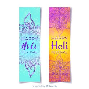 Watercolor holi festival banner