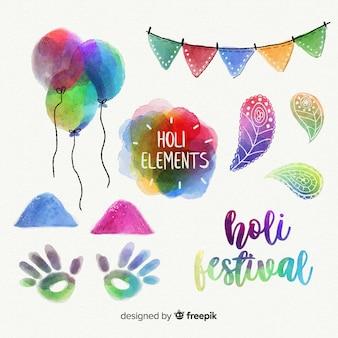 Pacchetto di elementi di acquerello holi festival