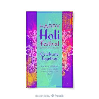Watercolor holi festival flyer template