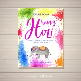 Watercolor holi festival flyer template