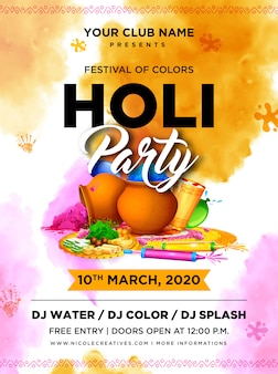 Watercolor holi festival flyer template.