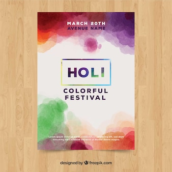 Watercolor holi festival poster