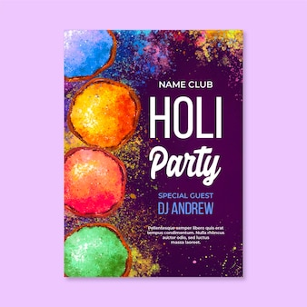 Watercolor holi festival vertical poster template
