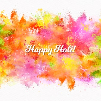 Watercolor holi festival with lettering