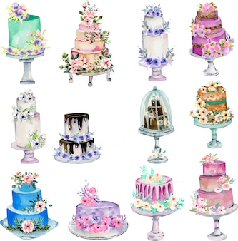 Watercolor holiday wedding cakes illustration