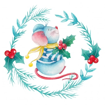 Watercolor holly berries wreath with cute cartoon mouse