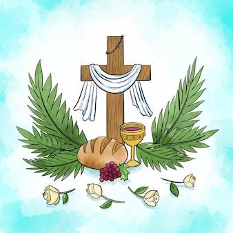 Watercolor holy week design