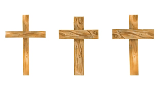 Watercolor holy wooden crosses hand drawn