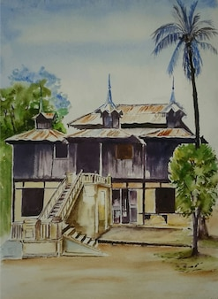 Watercolor home illustration with landscape background