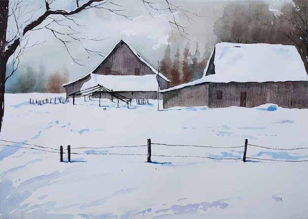 水彩の家の冬の風景手描き
