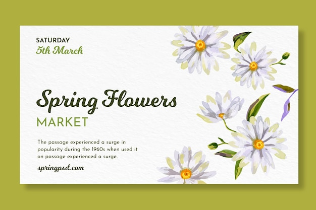 Watercolor horizontal banner for spring with flowers