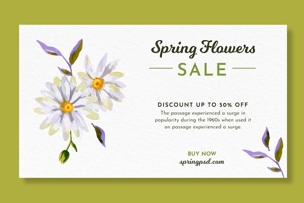 Watercolor horizontal banner template for spring with flowers