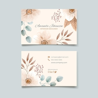 Watercolor horizontal business cards