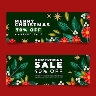 Watercolor horizontal christmas banners set