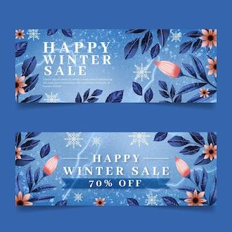 Watercolor horizontal winter sale banners set