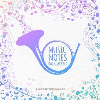 Priorità bassa del corno dell'acquerello con le note musicali