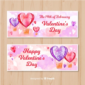 Watercolor hot-air balloon valentine banner collection