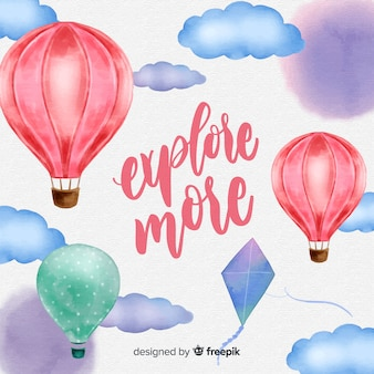 Watercolor hot air balloons background