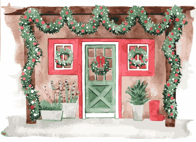 Watercolor house entrance illustration for christmas