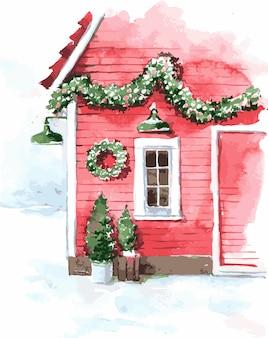 クリスマスの水彩家の窓のイラスト