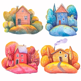 Watercolor houses of different colors red yellow blue seasons on a white background