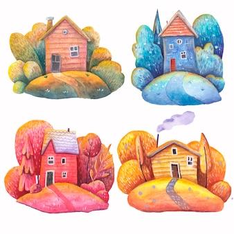 흰색 배경에 다른 색상 빨간색 노란색 파란색 계절의 수채화 주택