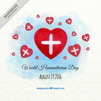 Watercolor humanitarian day background of hearts with crosses