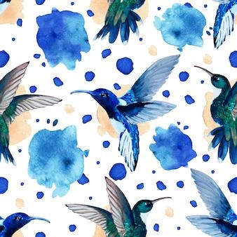 수채화 hummingbird(colibri) 및 요소의 수채화 반점 및 패턴