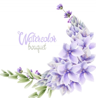 Watercolor hyacinth flowers wreath bouquet