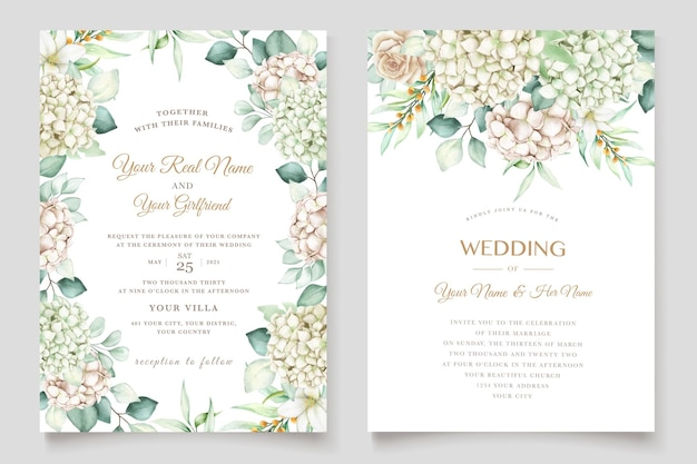 Watercolor hydrangea wedding invitation card set