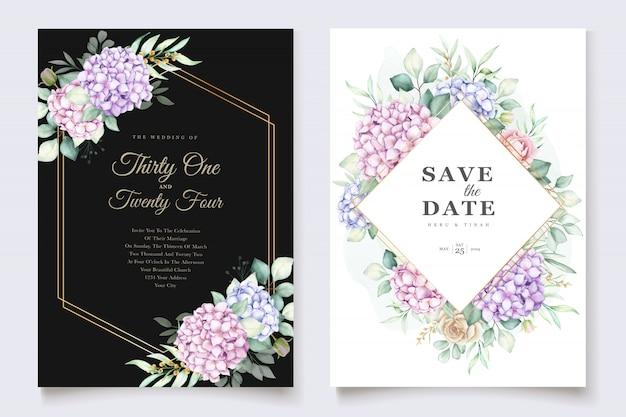 水彩のアジサイの結婚式の招待カードテンプレート