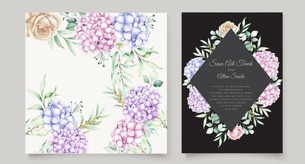 Watercolor hydrangea wedding invitation card template