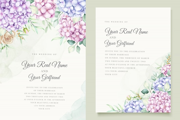 Watercolor hydrangea wedding invitation card template