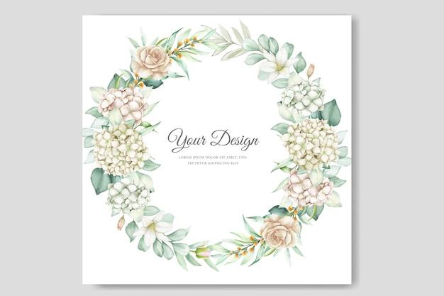 Watercolor hydrangea wedding invitation card Premium Vector