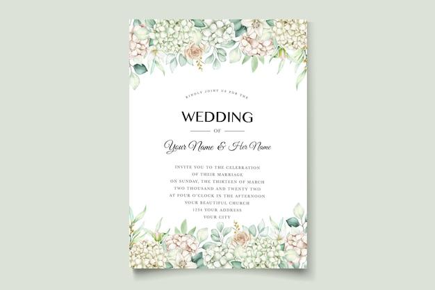 Watercolor hydrangea wedding invitation card